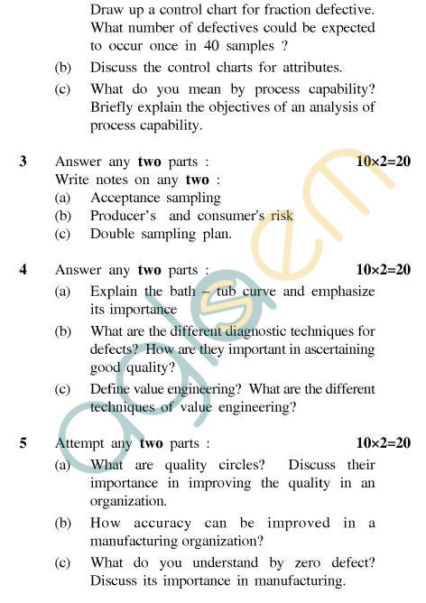 UPTU B.Tech Question Papers - PI-801 - Quality Control