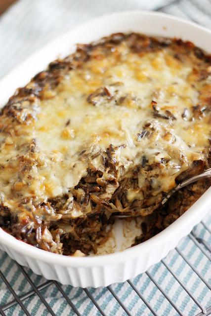 creamy mushroom + wild rice casserole