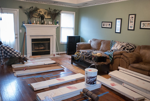 We can't progress on the far side of the living room until the water damage on the far side of the fireplace is fixed.