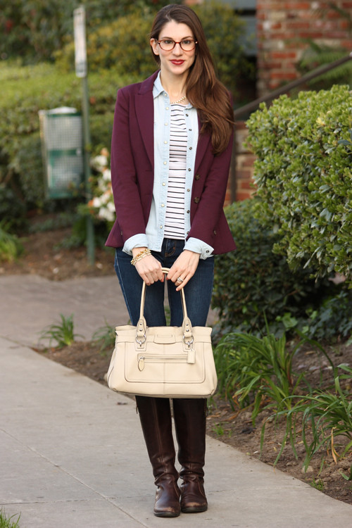 blazer, chambray and stripes