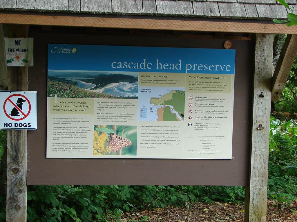 Signboard at the Cascade Head Trailhead