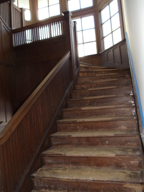 New carpeting for renovation, old stairway