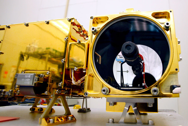 This image shows the ChemCam mast unit mounted on the Curiosity rover as it is being prepared in the clean room prior to the launch of NASA's Mars Science Laboratory mission. ChemCam fires a powerful laser that can sample Martian rocks and provide critical clues about the Red Planet's habitability.