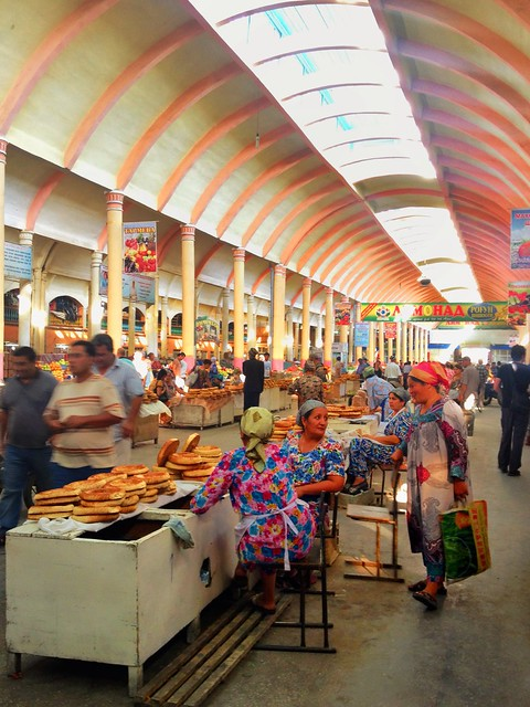 Tajik Bakers and their Naan inside the Panchshanbe Bazaar in Khujand
