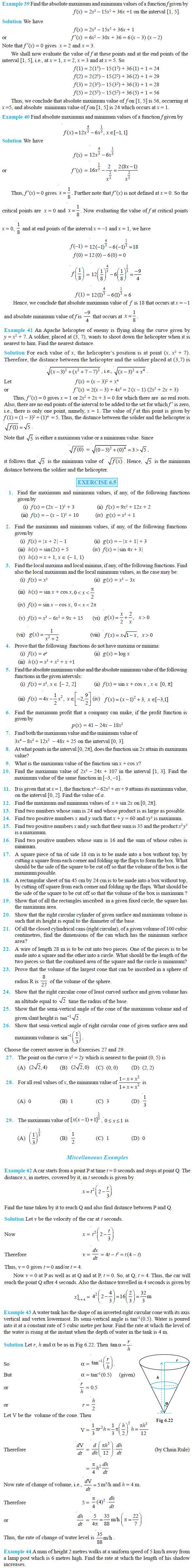NCERT Class XII Maths Chapter 6 - Application of Derivatives
