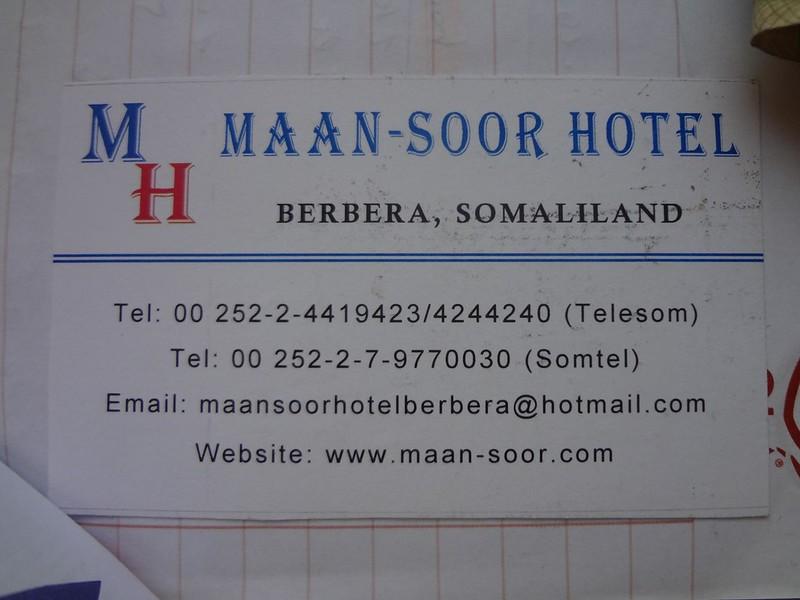 Cartão de visita do Hotel Maan-Soor