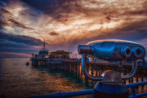 santa sunset sky beach clouds golden pier weird nikon monica hour hdr d60