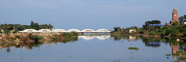Chennai's landmarks - The Cooum, the Napeir bridge across the river and the University of Madras' Clock Tower