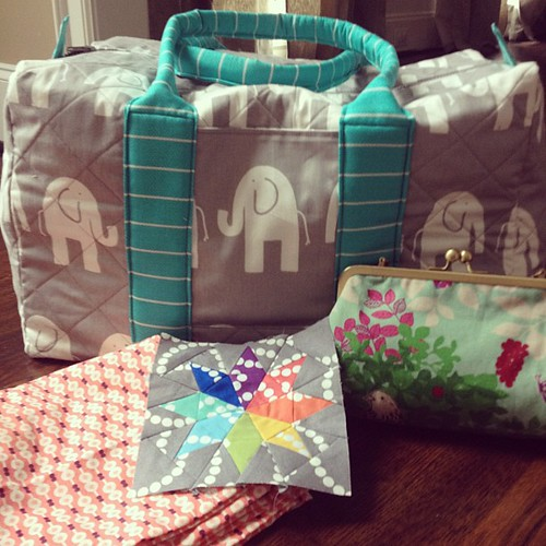 From my four workshops, duffle, clutch, star block and pajama pants #sewsouth