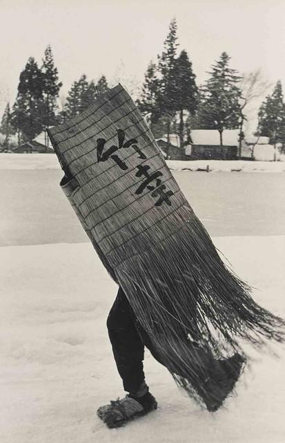 Man in a Traditional Minobashi Raincoat, Niigata Prefecture, 1956 (Hiroshi Hamaya)
