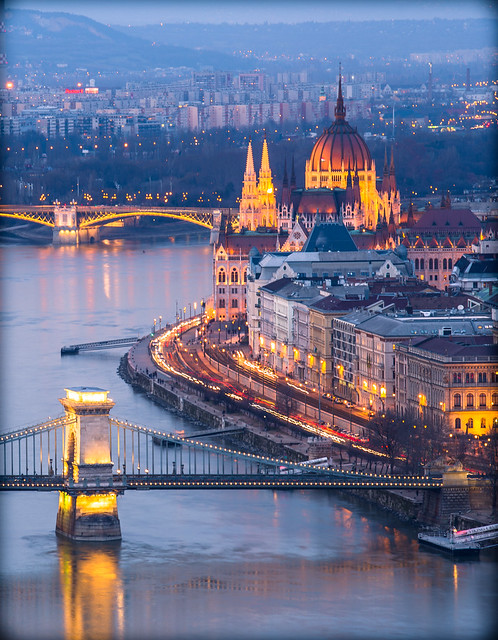 View from Gellert hill at blue hour.