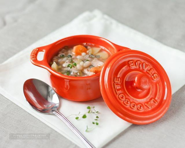 Zuppa con fagioli e salmone