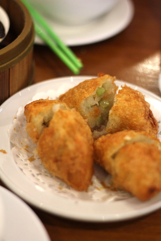Savoury potato and vegetable dumplings, deep fried