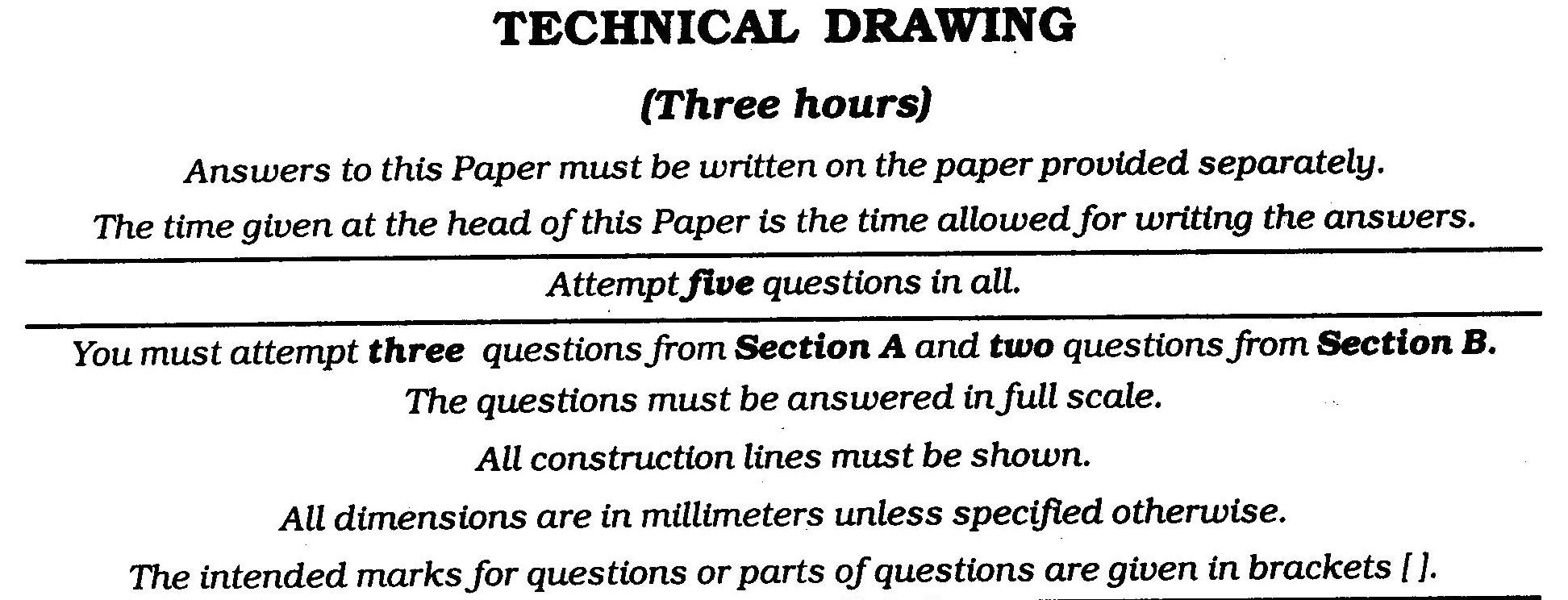 ICSE Class X Exam Question Papers 2011 Technical Drawing