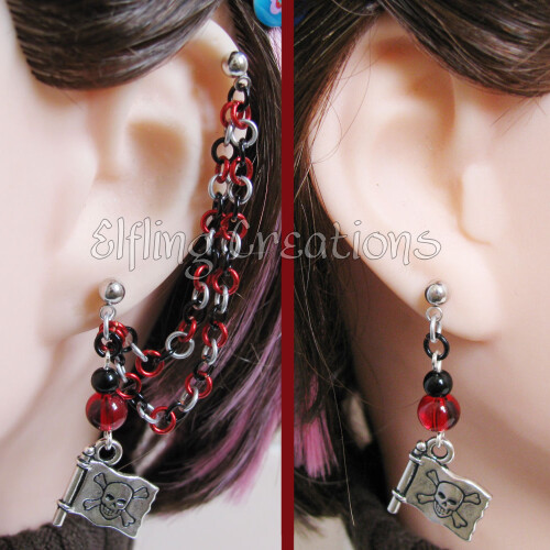 Red, Black, and Silver Pirate Chain Earrings