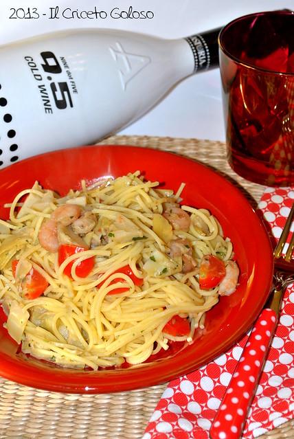 Spaghetti con gamberetti e carciofi (2)