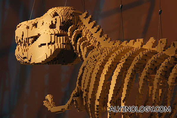 A close look at the brick dinosaur