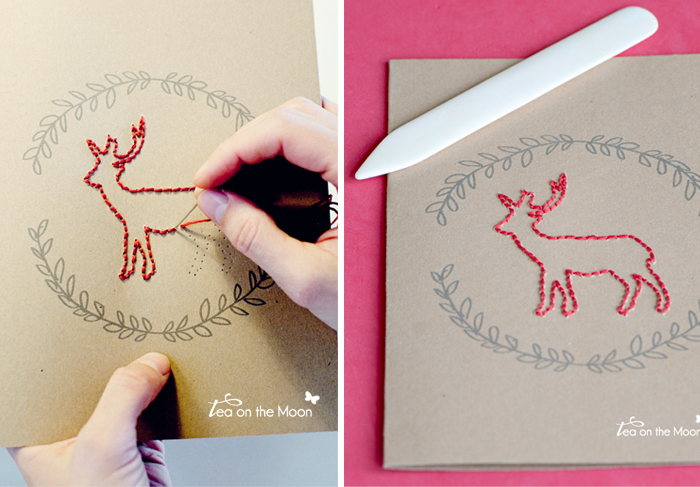 Libretas bordadas tema invierno Embroidered Journal deer 0