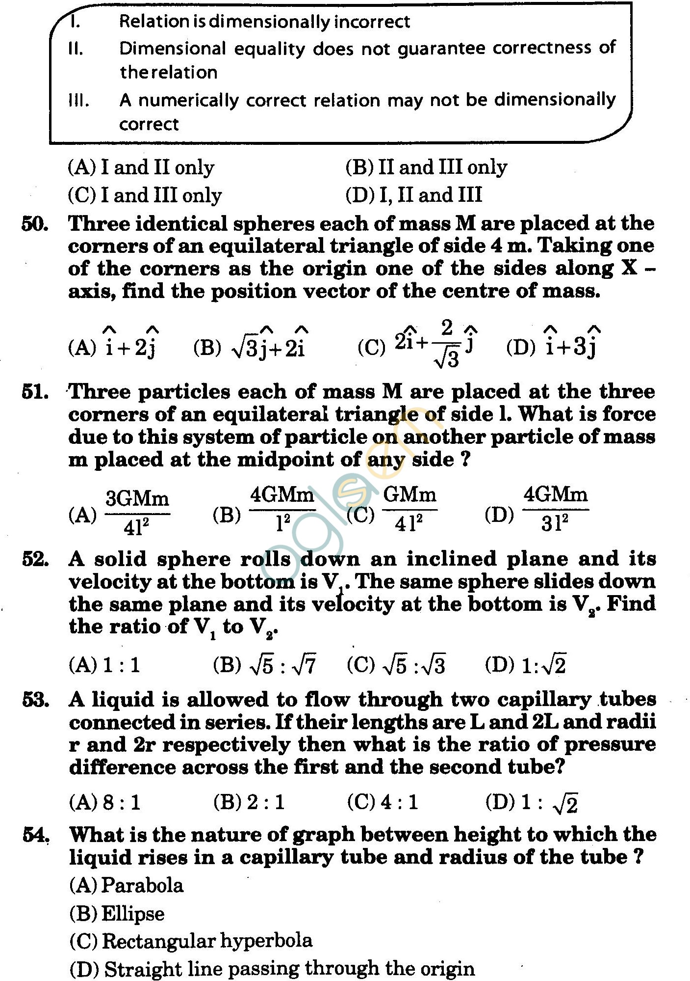 NSTSE 2010 Class XI PCM Question Paper with Answers - Physics