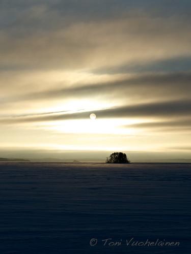 winter sunset lake finland landscape