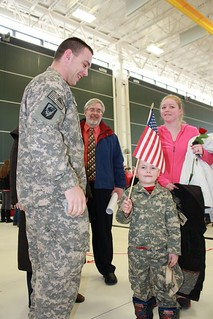 Family Members Greet National Guard Soldiers