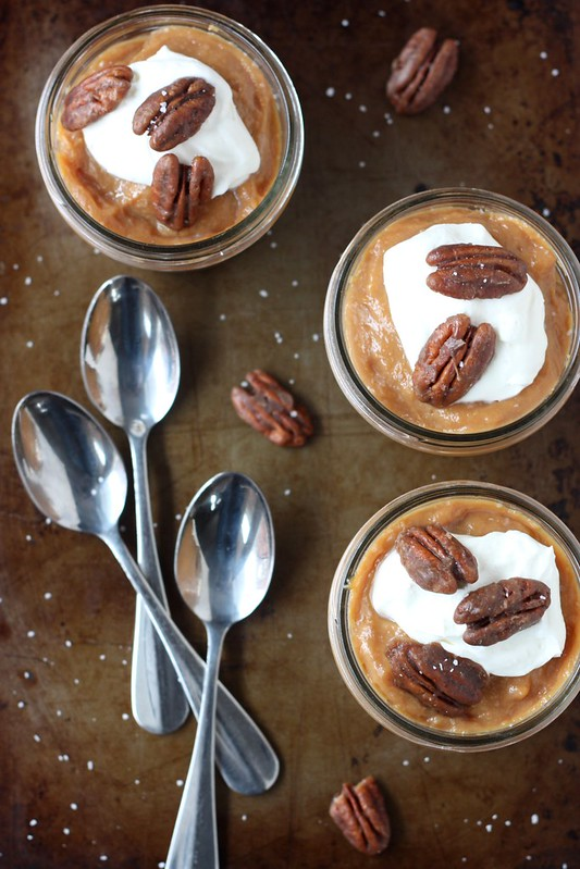 Caramel Pudding with Sweet and Salty Pecans