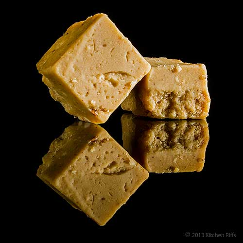 Microwave Peanut Butter Fudge on Black Acrylic