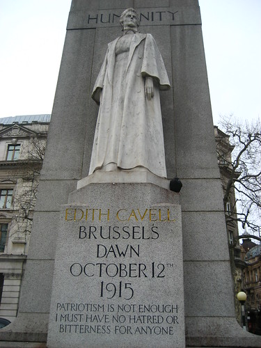 Edith Cavell's memorial, outside the NPG