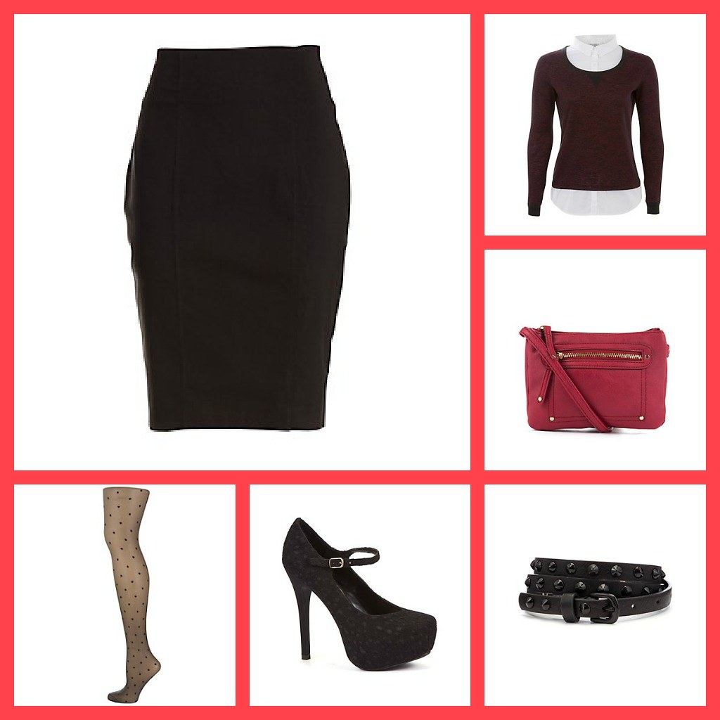 Classic work outfit pencil skirt court shoes