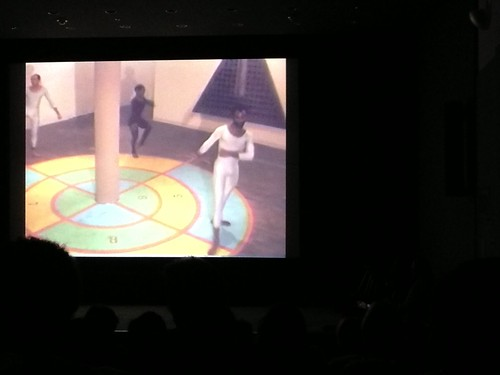 A still from Ulysses Jenkins's video of Houston Conwill's *Cake Walk* (1983)
