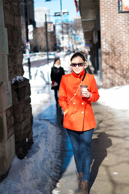old navy orange pea coat