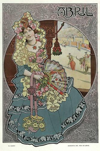 004-Alegoria del mes de Abril- Gaspar Camps-Revista Álbum Salón-Enero de 1901 -Hemeroteca de la Biblioteca Nacional de España