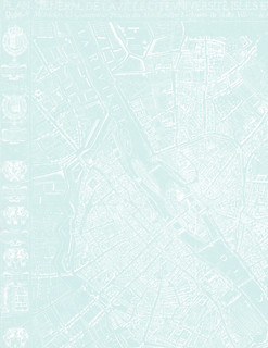 2b Paris map 1654 Plan de Boisseau VERY LIGHT TURQUOISE - LETTER size 8.5 x 11 inch