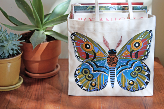 Painted moth tote