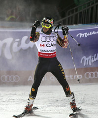 Philip Brown reacts to his performance in the team event at world championships in Schladming, Austria.