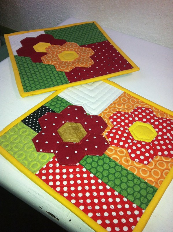 Hexie flower potholders