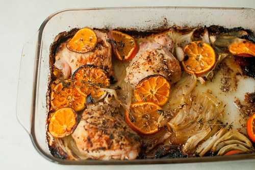 roasted chicken with clementines and orange juice