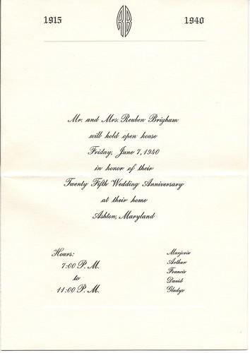Reuben and Marjorie Brigham silver anniversary invitation