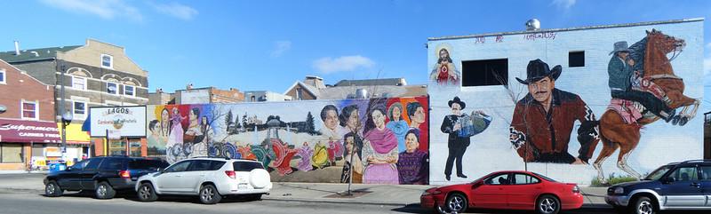 Murals of famous Latinas and Joan Sebastian
