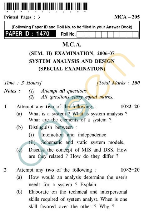 UPTU MCA Question Papers - MCA-205 - System Analysis & Design (Special Examination)
