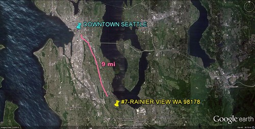 Rainier View in relation to Seattle (via Google Earth)