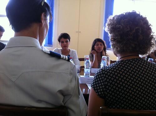 Najat Vallaud-Belkacem à l'hôtel de police de Saint Denis