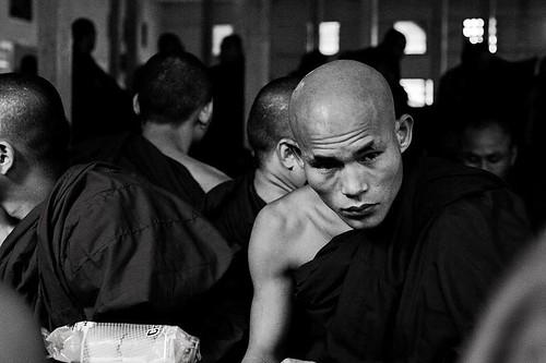 Candid shot, monks' dining hall, Maha Ganayon Kyaung Monastery, Amarapura, Myanmar