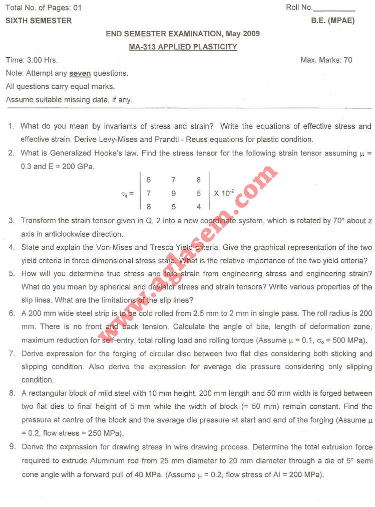 NSIT: Question Papers 2009 – 6 Semester - End Sem - MA-313