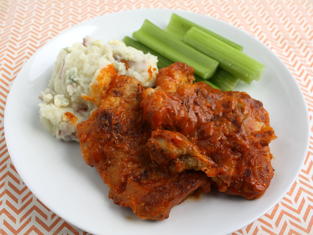 Buffalo Chicken Thighs with Buttermilk Mashed Potatoes