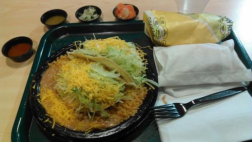 Beef taco combo plate, chile burrito