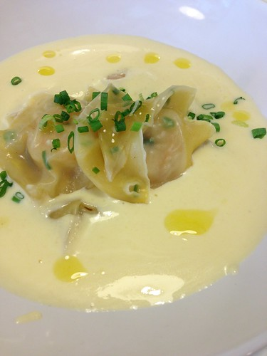 Wonton Ravioli with Soya Marinated Prawns & Perfect Italiano's Parmesan Fondue