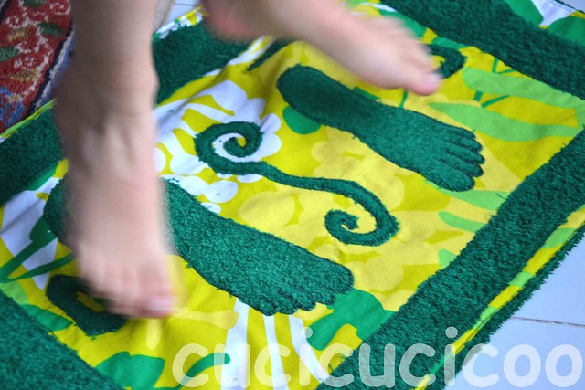 jumping on feet: upcycled changing room foot mats