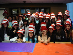 Dr. Seuss party attendees in Cat in the Hat hats