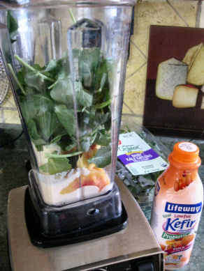 Kale and Peaches in Blender